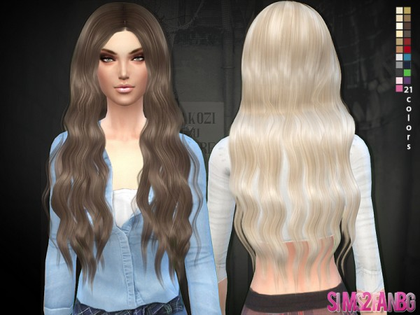 The Sims Resource: Long curly 02 hairstyle by Sims2fanbg for Sims 4