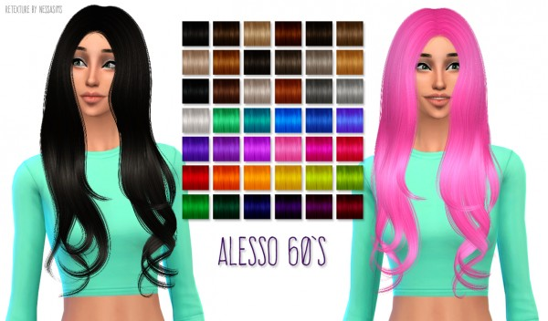 Nessa sims: Alesso 60′s hairstyle retextured for Sims 4