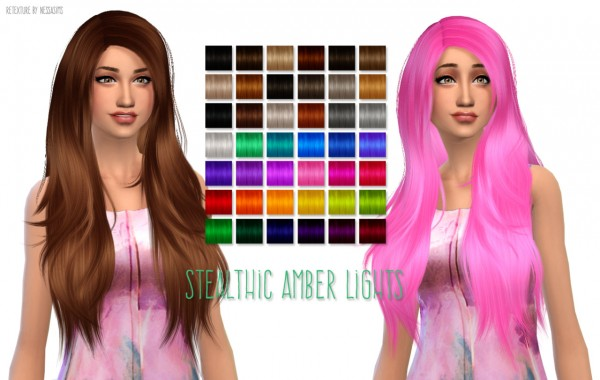 Nessa sims: Stealthic`s Amber Lights hairstyle retexured for Sims 4