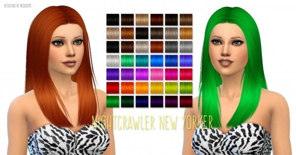 Nessa sims: Nightcrawler's New Yorker hairstyle retextured for Sims 4