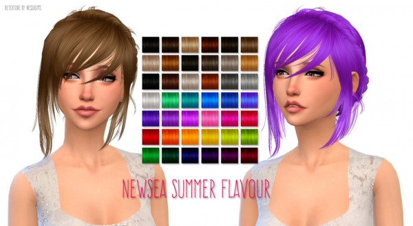 Nessa sims: Newsea`s Summer Flavour hairsytle retextured for Sims 4
