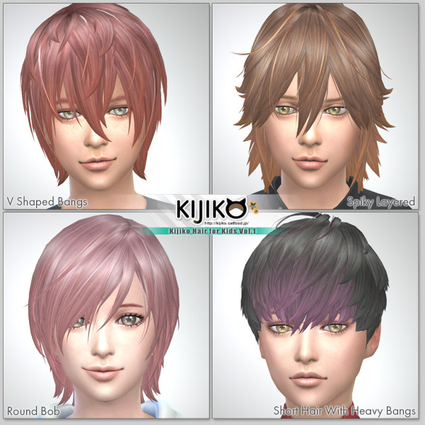 Kijiko Sims: Kijiko Hair for Kids Vol.1 for Sims 4