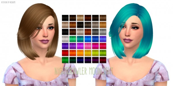 Nessa sims: Moonlight hairstyle by Nightcrawler for Sims 4