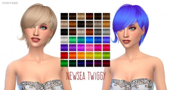 Nessa sims: NewSea`s Twiggy hairstyle retextured for Sims 4