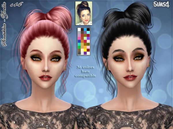 The Sims Resource: Zoella bow hairstyle 14 by Sintiklia for Sims 4