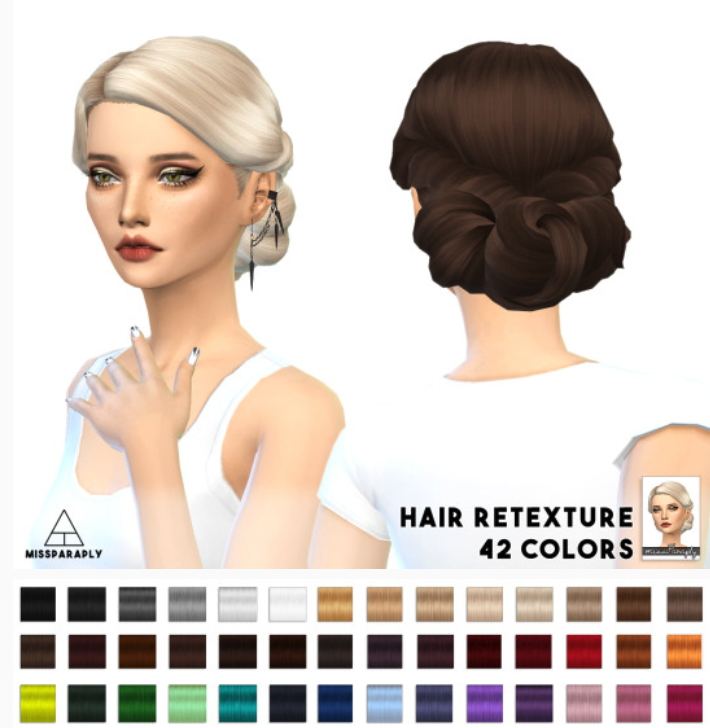 Sims 4 Hairs Miss Paraply Twist Low Hairstyle Retextured