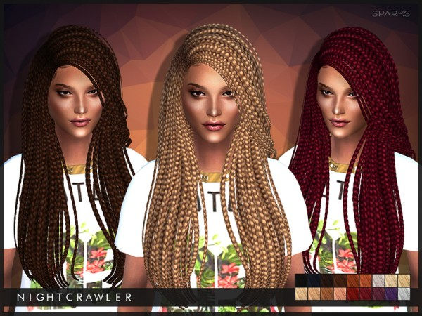 The Sims Resource: Sparks million braids hairstyle by Nightcrawler for Sims 4