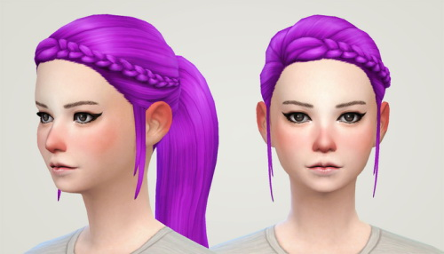 Liahxsimblr: Simsticle's braided ponytail retextured for Sims 4