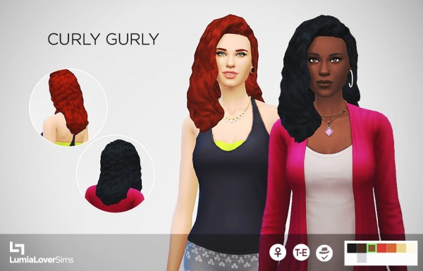 Lumia Lover Sims: Curly Girly for Sims 4