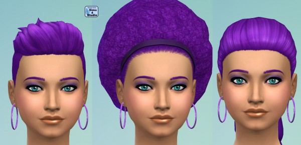 Mod The Sims: Recoloured Hairstyle Set in Deep Purple by wendy35pearly for Sims 4