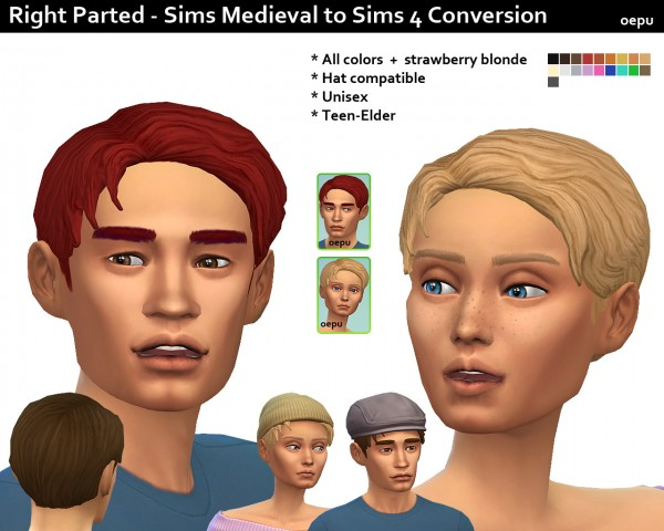 Mod The Sims: Sims Medieval to Sims 4 Conversion   Right Parted by oepu for Sims 4