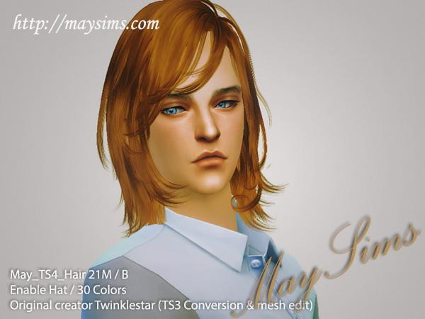 MAY Sims: May Hairstyle 21M / B for Sims 4