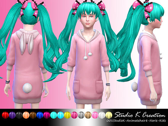 Studio K Creation: Animate hairstyle 8 Norie for girls for Sims 4