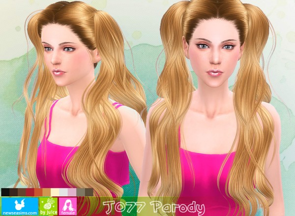 NewSea: J 077 Parody double long ponytails hairstyle for Sims 4