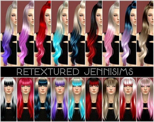 Jenni Sims: Alesso, SkySims and Newsea Soledad hairstyles retextured for Sims 4