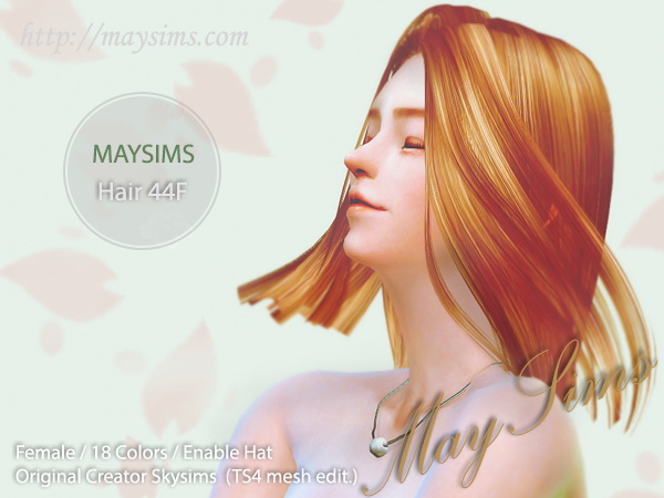 MAY Sims: May Hairstyle 44F for Sims 4