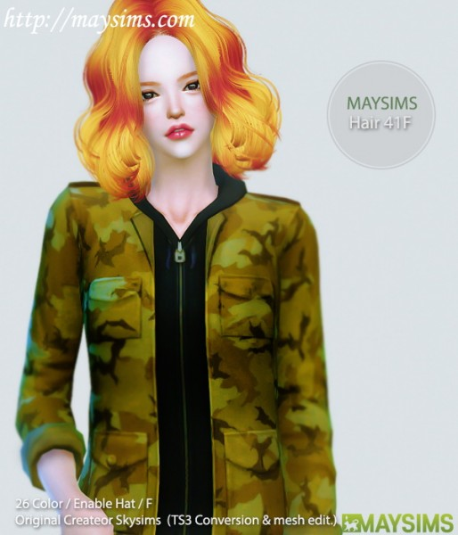 MAY Sims: May Hair 41F for Sims 4