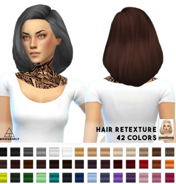 Miss Paraply: Tamo Puffy Shoulder bob hairstyle for Sims 4