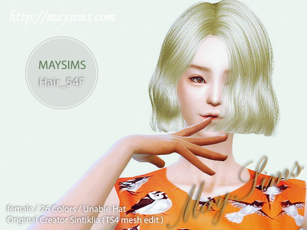MAY Sims: May Hairstyle 54F for Sims 4