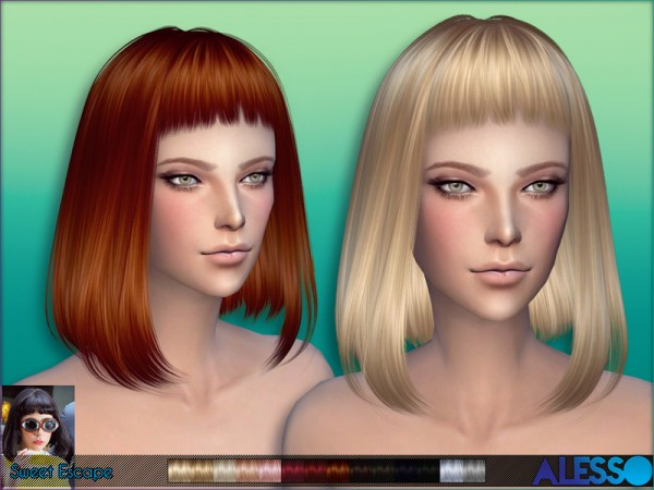 The Sims Resource: Sweet Escape hairstyle by Alesso for Sims 4