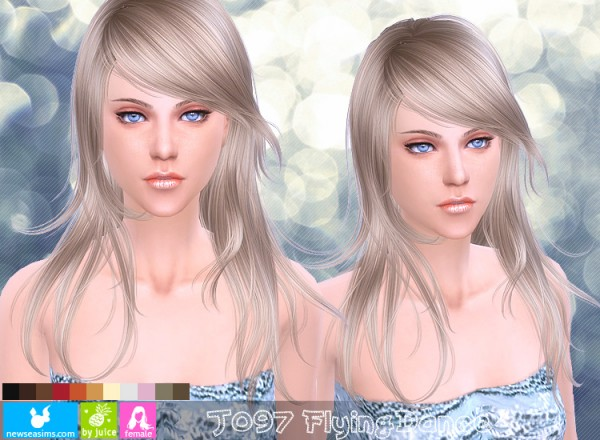 NewSea: J097 Flying Dance modern hairstyle for Sims 4