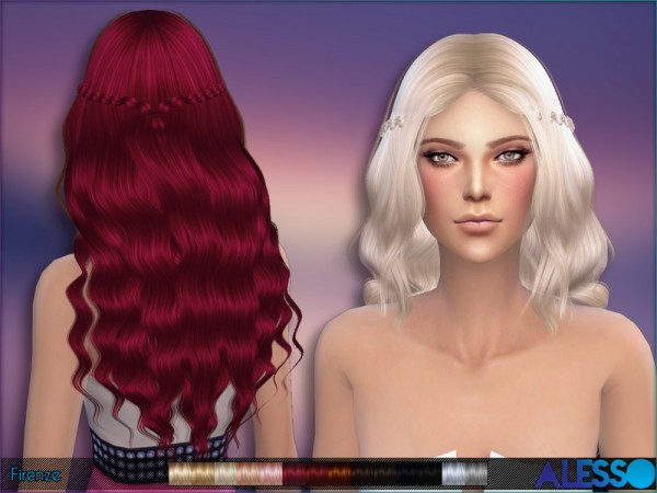 The Sims Resource: Firenze hairstyle by Alesso for Sims 4