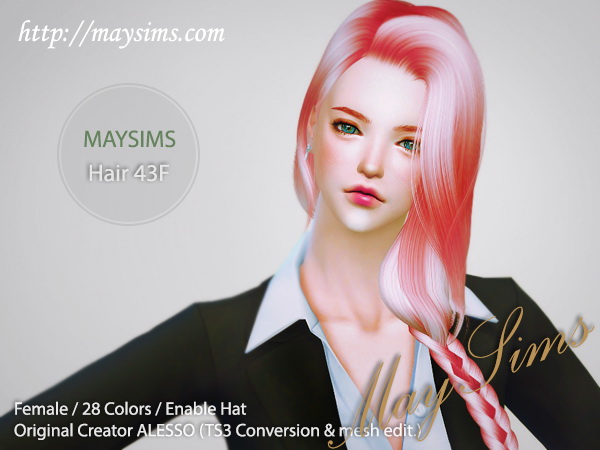 MAY Sims: May Hairstyle 43F for Sims 4