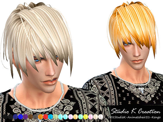 Studio K Creation: Animate hairstyle 21  Kengo for Sims 4