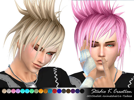 Studio K Creation: Animate hairstyle 16   Akira for Sims 4