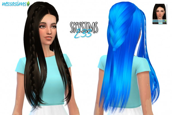 Nessa sims: Skysims 233 Hairstyle Retextured for Sims 4