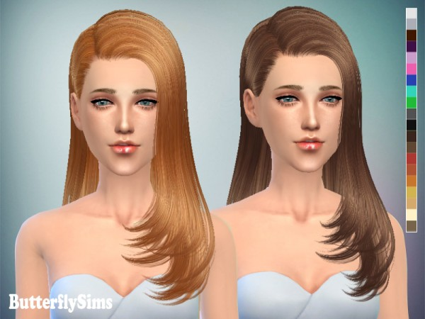 Butterflysims: In a side hairstyle 077 for Sims 4