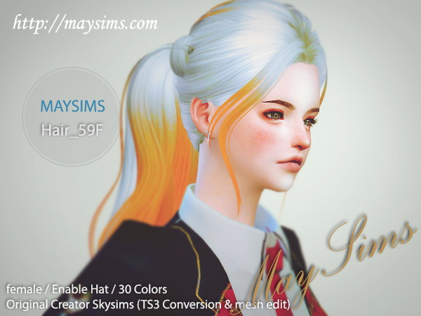 MAY Sims: May Hairstyle 59F for Sims 4