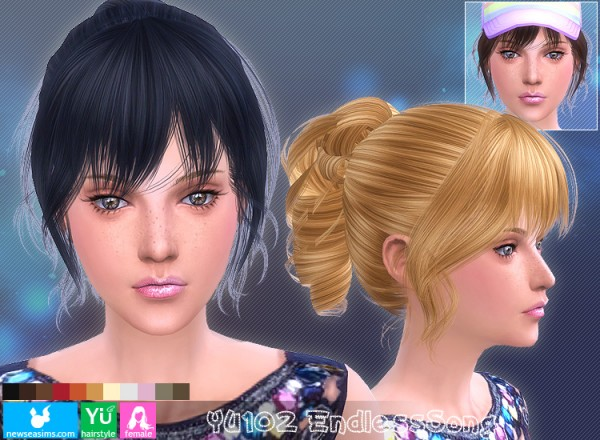 NewSea: YU102 Endelss Song hairstyle for Sims 4