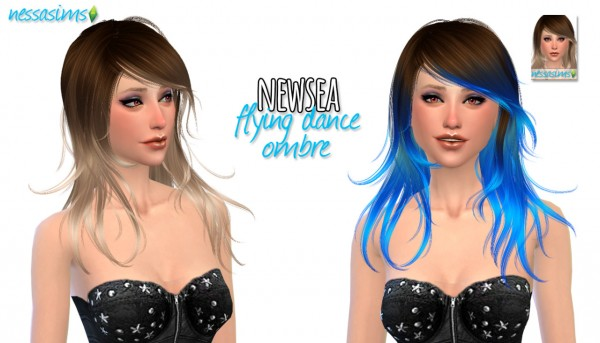 Nessa sims: Newsea`s Flying Dance + Ombre hairstyle for Sims 4