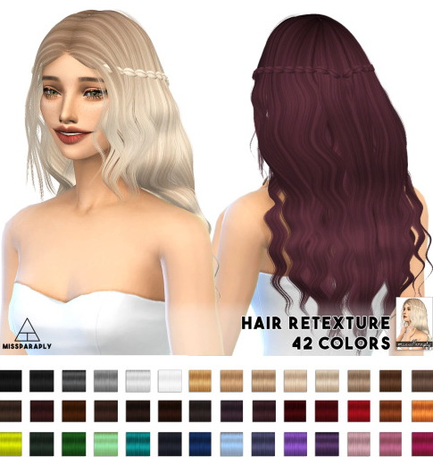 Miss Paraply: Alesso`s Firenze hairstyle retextured for Sims 4
