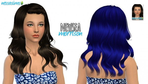 Nessa sims: Newsea`s Morrison hairstyle retextured for Sims 4