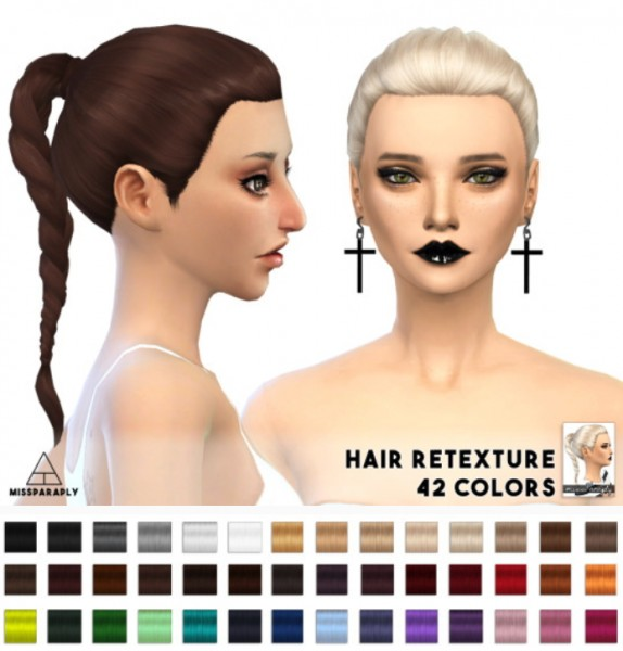 Miss Paraply: Pony Braid hairstyle retextured for Sims 4