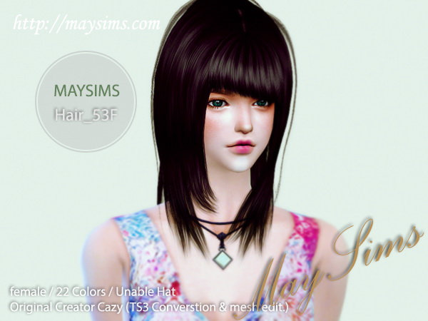 MAY Sims: May Hairstyle53F for Sims 4