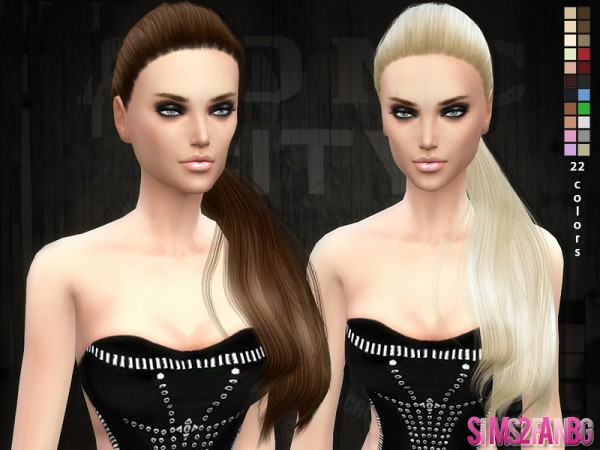 The Sims Resource: Selena ponytail hairstyle 04 by Sim2fanbg for Sims 4