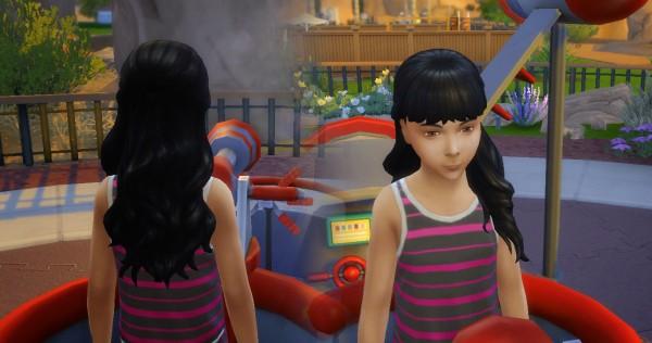 Mystufforigin: Long Wavy Half Up for Girls for Sims 4