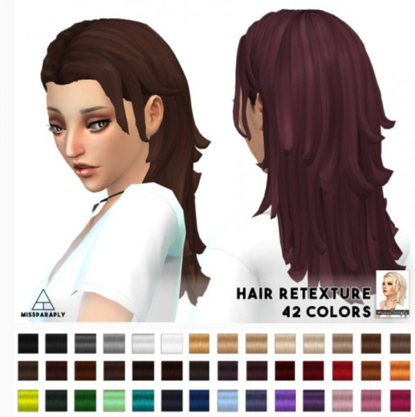 Miss Paraply: Kiara 24 hairstyle retextured for Sims 4