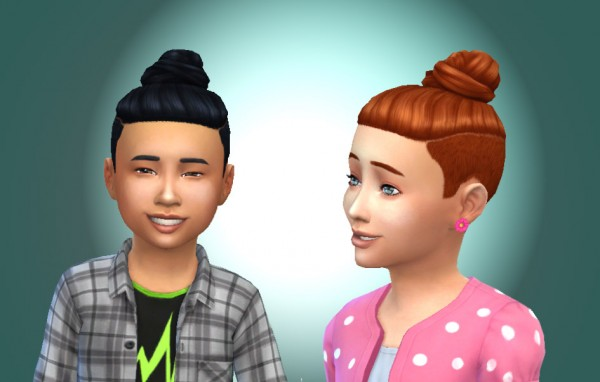 Mystufforigin: Shaved Bun Top for Kids for Sims 4