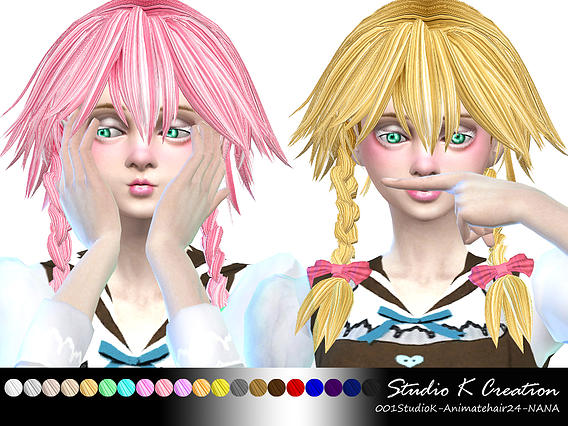 Studio K Creation: Animate hair 24   NANA for Sims 4