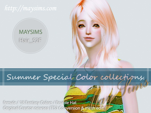 MAY Sims: May Hairstyle 52F for Sims 4
