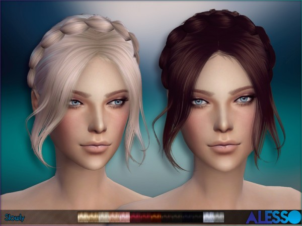 The Sims Resource: Slowly hairstyle by Alesso for Sims 4