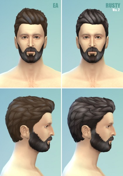 Rusty Nail: Wavy loose V2 hairstyle retextured for Sims 4