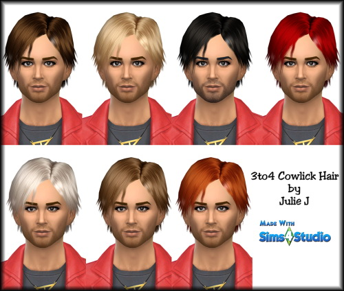 Julietoon: Cowlick hairstyle for Sims 4