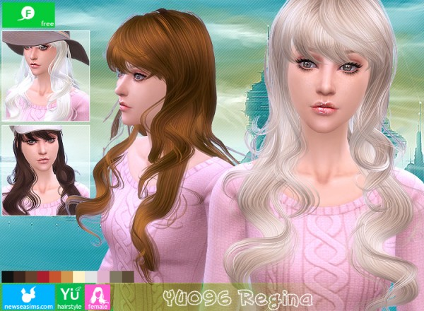 NewSea: YU 096 Regina hairstyle for Sims 4