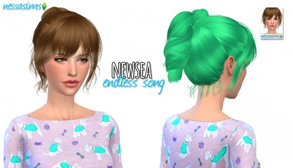 Nessa sims: Newsea`s Endless Song hairstyle retextured for Sims 4