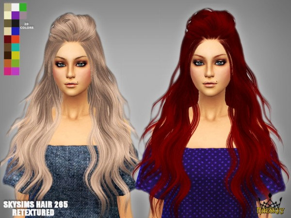 Niteskky Sims: Skysims hairstyle 265 Retextured for Sims 4